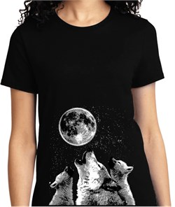 Image of 3 Wolf Moon Bottom Print Ladies Shirt