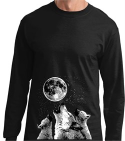 Image of 3 Wolf Moon Bottom Print Long Sleeve Shirt