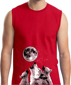 Image of 3 Wolf Moon Bottom Print Mens Muscle Shirt