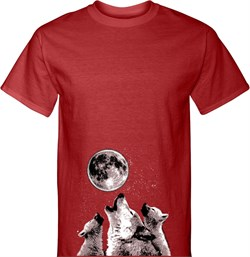 Image of 3 Wolf Moon Bottom Print Mens Tall Shirt