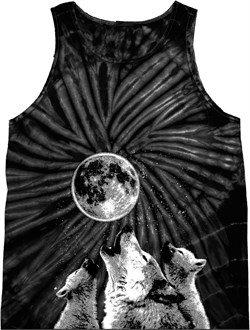 Image of 3 Wolf Moon Bottom Print Tie Dye Tank Top