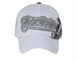 Image of Boston Disteressed 3D Design Hat - Lackpard Cap - White