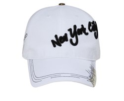 Cotton | White | City | York | Cap | Hat | New | 3D