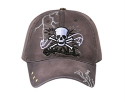 Skull Embroidered 3D Hat ? Lackpard Cotton Cap ? Charcoal Gray