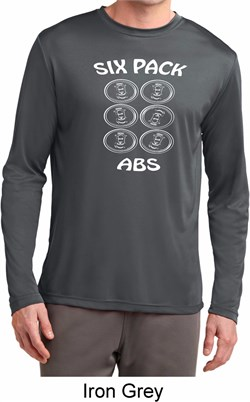 Image of 6 Pack Abs Beer Funny Mens Dry Wicking Long Sleeve Shirt