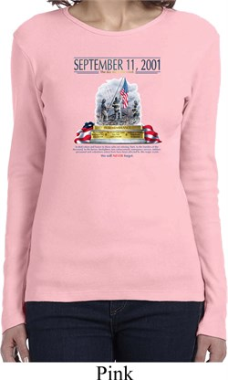 Image of 9-11 Never Forget Ladies Long Sleeve Shirt