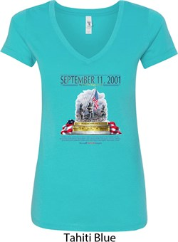 Image of 9-11 Never Forget Ladies V-Neck Shirt