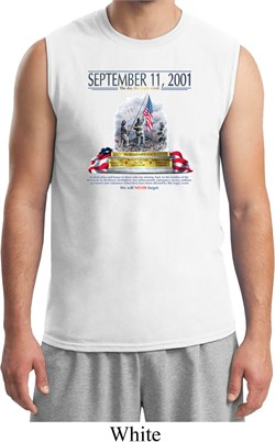 Image of 9-11 Never Forget Mens White Muscle Shirt