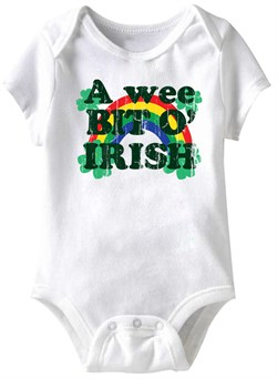 Image of A Wee Kit O' Irish Funny Baby Romper White Infant Babies Creeper