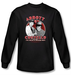 Image of Abbott & Costello Long Sleeve Shirt Bad Boy Adult Black Tee T-Shirt