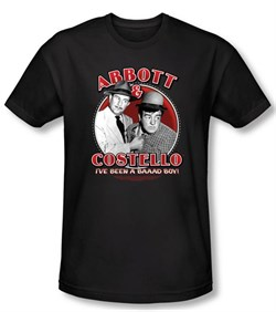 Image of Abbott & Costello Shirt Funny Bad Boy Black Slim Fit Tee T-Shirt