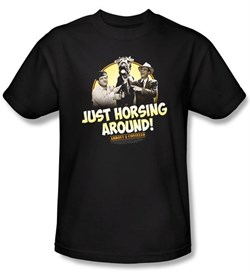 Image of Abbott & Costello Shirt Funny Horsing Around Adult Black Tee T-Shirt
