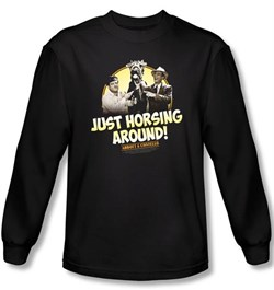 Image of Abbott & Costello Long Sleeve Shirt Horsing Around Black Tee T-shirt