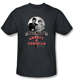 Image of Abbott & Costello Shirt Funny Super Slueths Charcoal Tee T-Shirt