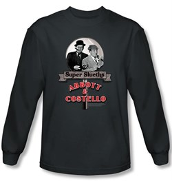 Image of Abbott & Costello Long Sleeve Shirt Super Slueths Charcoal Tee T-shirt