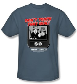 Image of Abbott & Costello Shirt Funny That Dial Adult Slate Tee T-Shirt