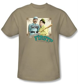 Image of Abbott & Costello Shirt Funny Who's On First Adult Sand Tee T-Shirt