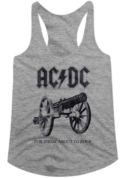 Image of AC/DC Juniors Tank Top For Those About To Rock Athletic Heather Racerback