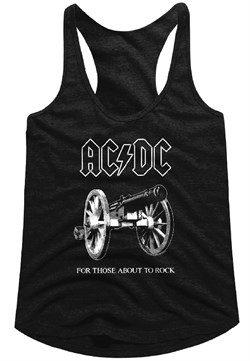 Image of AC/DC Juniors Tank Top For Those About To Rock Black Racerback