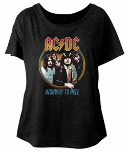 Image of AC/DC Ladies Shirt Highway To Hell Dolman Black T-Shirt