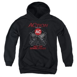 Image of AC Delco Kids Hoodie Hot Tip Spark Plugs Black Youth Hoody