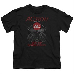 Image of AC Delco Kids Shirt Hot Tip Spark Plugs Black T-Shirt