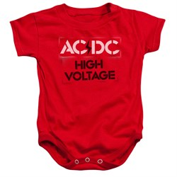 Image of ACDC Baby Romper High Voltage Red Infant Babies Creeper