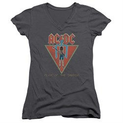 Image of ACDC Juniors V Neck Shirt Flick Of The Switch Charcoal T-Shirt