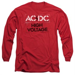 Image of ACDC Long Sleeve Shirt High Voltage Red Tee T-Shirt