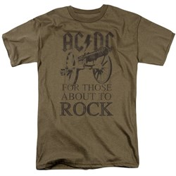 Image of ACDC Shirt For Those About To Rock Safari Green T-Shirt