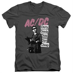 Image of ACDC Slim Fit V-Neck Shirt Dirty Deeds Charcoal T-Shirt