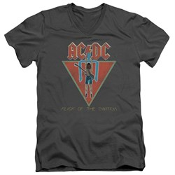 Image of ACDC Slim Fit V-Neck Shirt Flick Of The Switch Charcoal T-Shirt