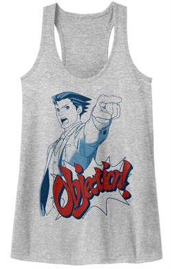 Image of Ace Attorney Juniors Tank Top Objection Athletic Heather Racerback