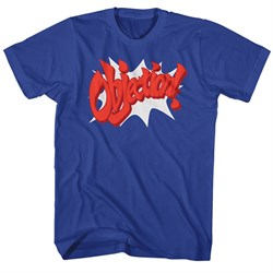 Image of Ace Attorney Shirt Objection Royal Blue T-Shirt