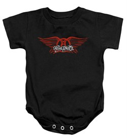 Image of Aerosmith Baby Romper Winged Logo Black Infant Babies Creeper