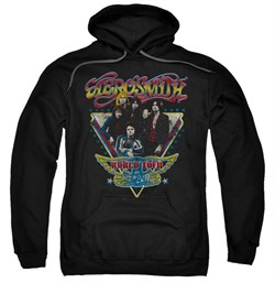 Image of Aerosmith Hoodie Sweatshirt Triangle Stars Black Adult Hoody Sweat Shirt