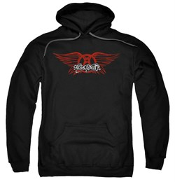 Image of Aerosmith Hoodie Sweatshirt Winged Logo Black Adult Hoody Sweat Shirt