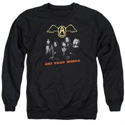 Image of Aerosmith Shirt Get Your Wings Long Sleeve Black Tee T-Shirt