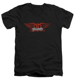 Image of Aerosmith Shirt Slim Fit V Neck Winged Logo Black Tee T-Shirt