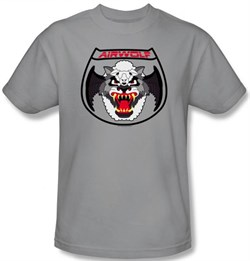 Image of Airwolf T-shirt Patch Adult Silver Tee Shirt