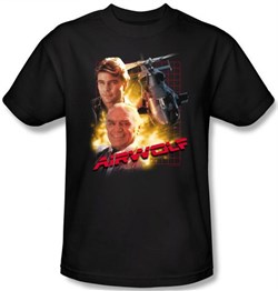 Image of Airwolf T-shirt Airwolf Collage Adult Black Tee Shirt