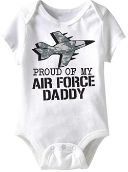 Image of Air Force Daddy Funny Baby Romper White Infant Babies Creeper