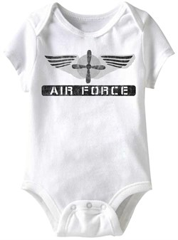 Image of Air Force Wings Funny Baby Romper White Infant Babies Creeper