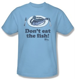 Image of Airplane Shirt Dont Eat The Fish Adult Light Blue Tee T-Shirt