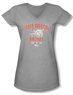 Image of Airplane Shirt Juniors V Neck Trans American Athletic Heather Tee T-Shirt