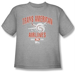 Image of Airplane Shirt Kids Trans American Athletic Heather Youth Tee T-Shirt