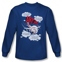 Image of Airplane Shirt Picked The Wrong Day Long Sleeve Royal Blue Tee T-Shirt