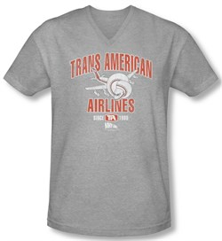 Image of Airplane Shirt Slim Fit V Neck Trans American Athletic Heather Tee T-Shirt