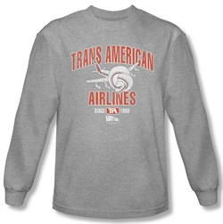 Image of Airplane Shirt Trans American Long Sleeve Athletic Heather Tee T-Shirt