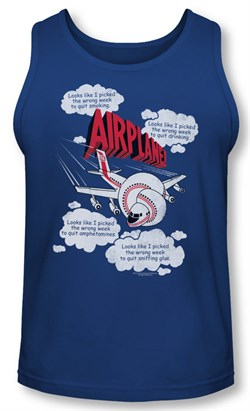 Image of Airplane Tank Top Picked The Wrong Day Royal Blue Tanktop